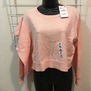 NWT Zara Knit peach asymmetrical cropped sweater M